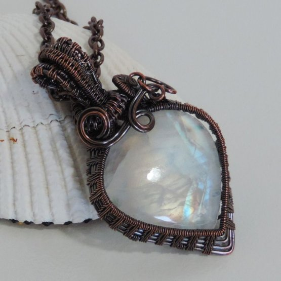 Moonstone and Copper Pendant