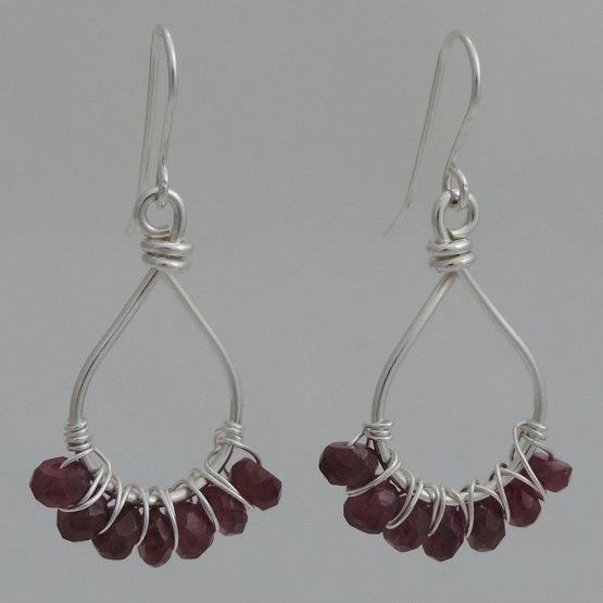 Argentium Silver and Rhodolite Garnet Earrings