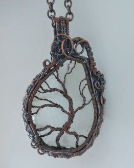 Copper Tree of Life with Maine Seaglass