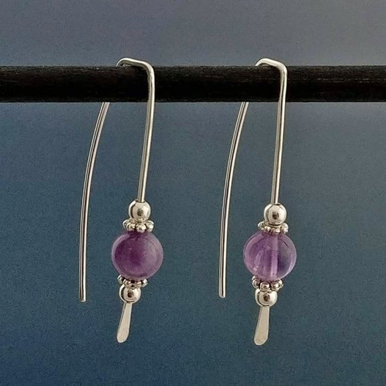 Amethyst and Argentium Silver Threader Earrings