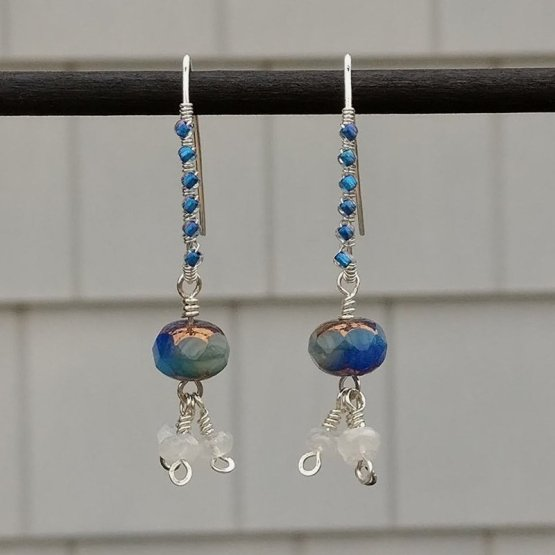 Blue Czech and Moonstone Bead Silver earrings
