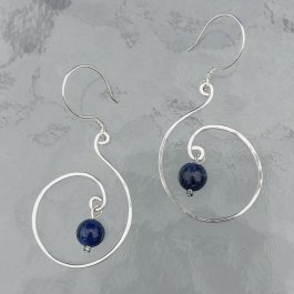 Silver Swirl Earrings with Lapis Lazuli beads