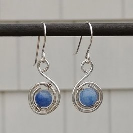 Silver Spiral Earrings with Blue Aventurine Beads