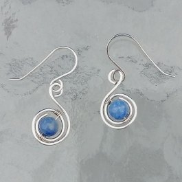 Silver Earring with Blue Aventurine Beads