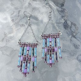 Purple and blue fringe earrings