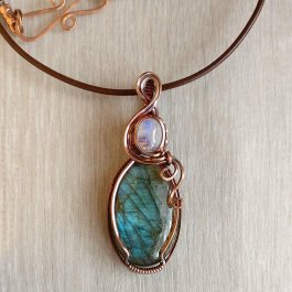 Labradorite and Moonstone Pendant showing copper clasp