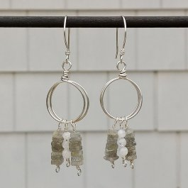Labradorite and Moonstone Silver Hoops