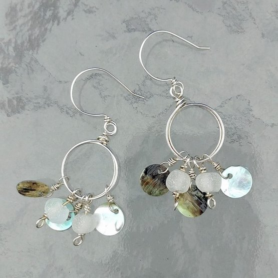 Silver hoops with beads and disks