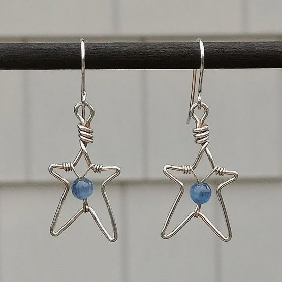 Silver Star Earrings with Kyanite Beads