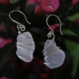 Maine Sea Glass Earrings wrapped in silver wire