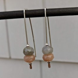Labradorite and Sunstone Argentium Silver Threader Earrings