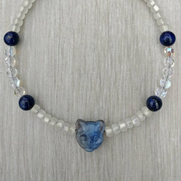 Cat bead and Lapis Lazuli bracelet
