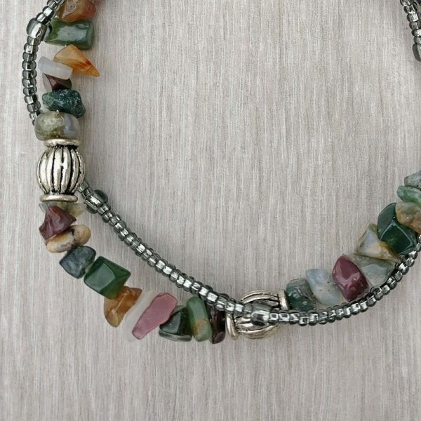 Double Strand Moss Agate Chip and Seed Bead bracelet