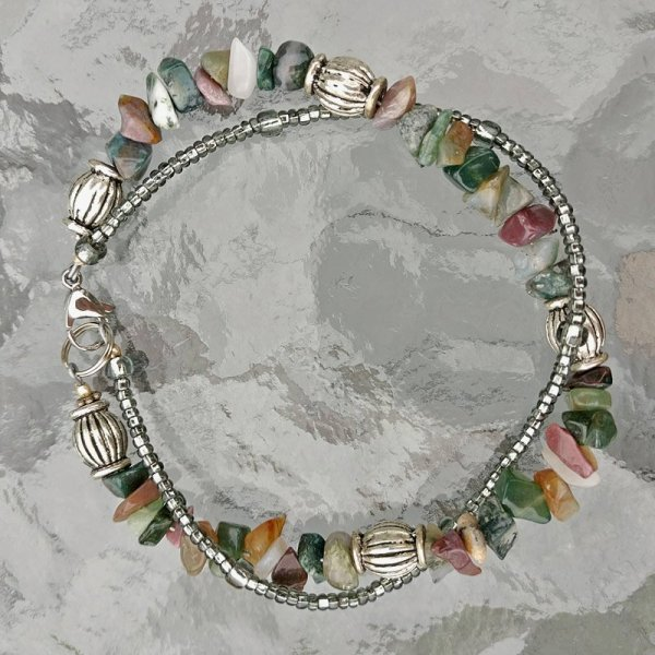 Double Strand Moss Agate and Seed Bead bracelet