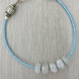Moonstone and Blue Seed Bead Bracelet