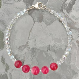 Ruby and Czech Glass Bead Bracelet