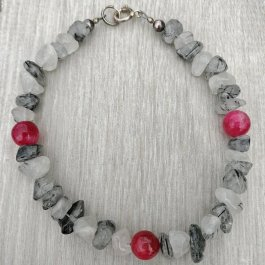 Tourmalinated Quartz and Ruby Bracelet