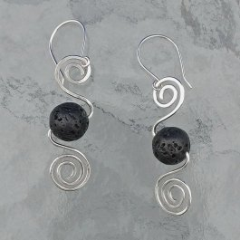 Double Spiral Silver earrings with Lava beads