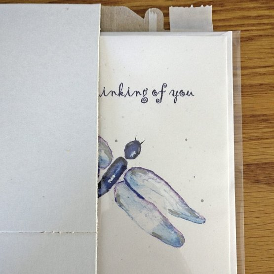 Thinking of you card shown in mailer