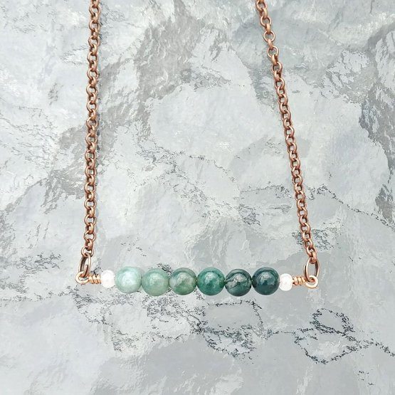 Image of ombre moss agate bar necklace