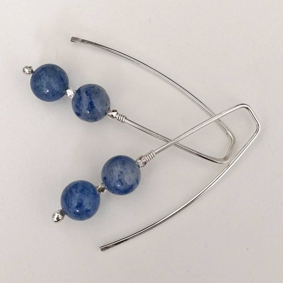image of blue aventurine and silver threader earrings