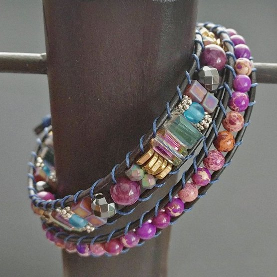 image of double leather wrap bracelet with purple jasper beads and assorted other beads