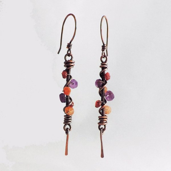 Copper earrings coiled with gemstone beads