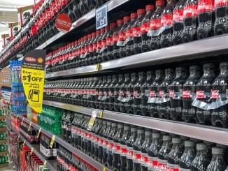 Rayon de sodas dans un supermarché américain