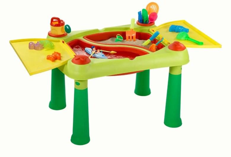 Jeu d'extérieur pour enfants, table d'activités avec de l'eau et du sable