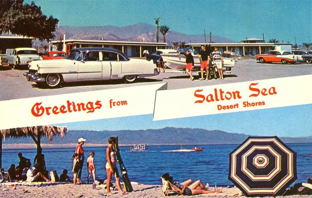 Carte postale de Bombay Beach en Californie quand c'était encore un paradis.