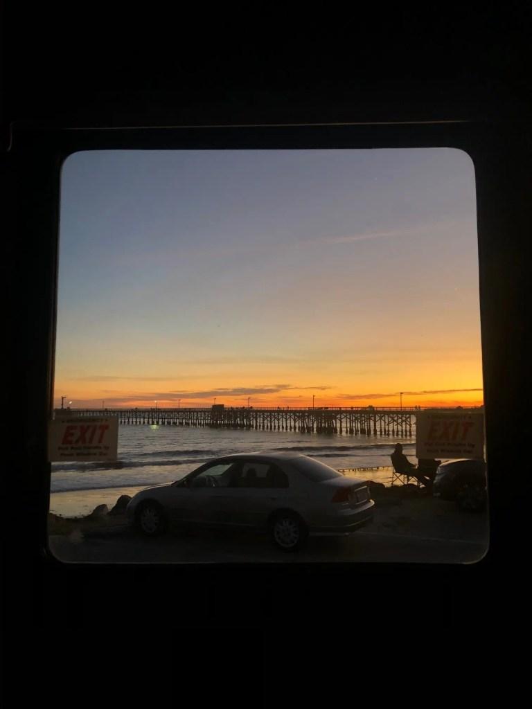coucher de soleil depuis le camping car en Californie