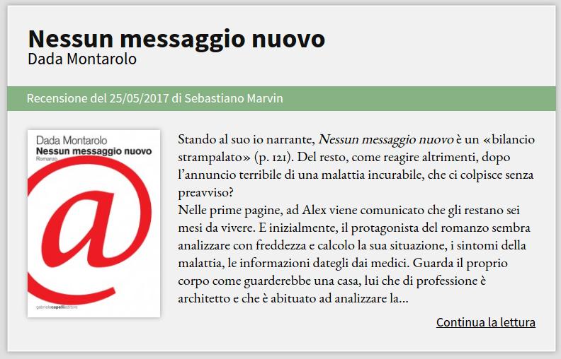 """Recensione di """"Nessun messaggio nuovo"""" di Dada Montarolo"""