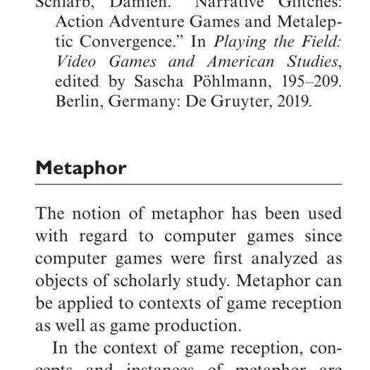 """Preview of entry on """"metaphor"""" in the Encyclopedia of Video Games"""