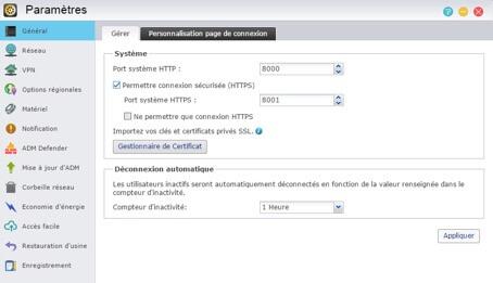 NAS AS5002T Asustor ADM 2.4 Parametres