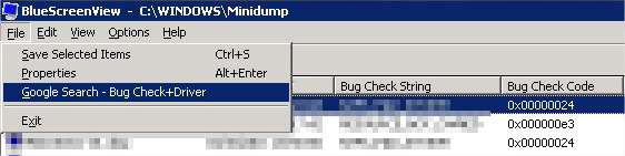 BluescreenView Nirsoft bug check drivers stop error