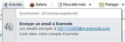 Envoyer un mail à Evernote