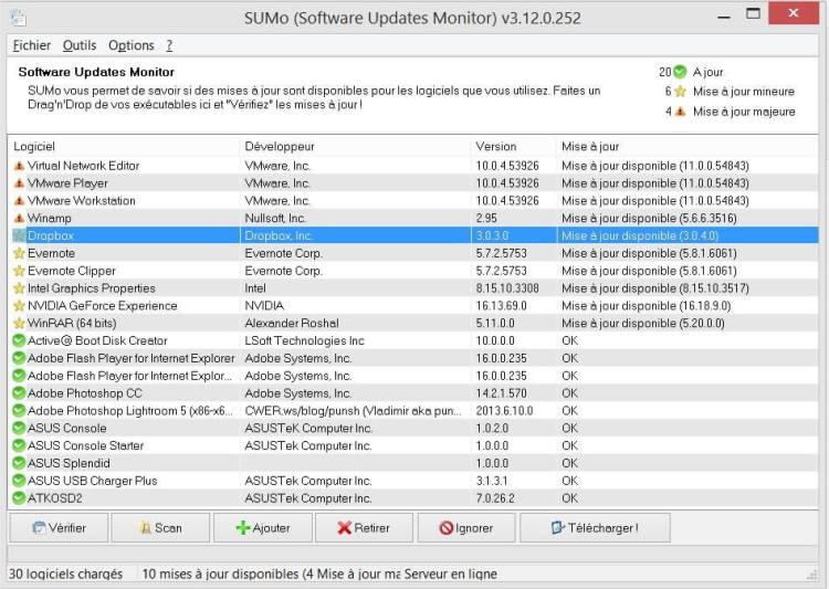 Gardez vos logiciels à jour avec SUMo