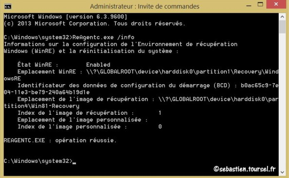 Image de recuperation Windows 8 ReAgentc WinRE Enabled