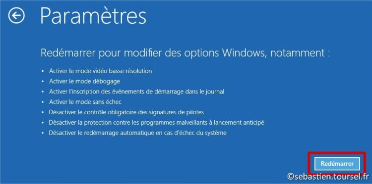 Tentatives de réparation Windows 8.1 redemarrer