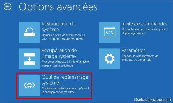 Tentatives de réparation Windows 8.1 Outils de redémarrage système