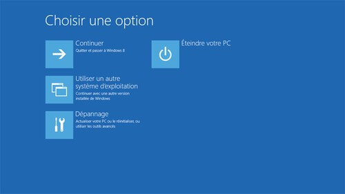 mode sans echec windows 8 - Choisir une option