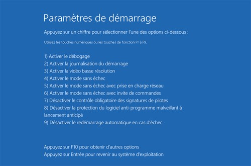 mode sans echec windows 8 - Parametres de demarrage