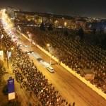 Mii de persoane protesteaza in Timisoara dupa ce Executivul a adoptat proiectul de lege privind gratierea si ordonanta privind modificarea Codurilor Penale, miercuri 1 februarie 2017. SEBASTIAN TATARU / MEDIAFAXFOTO