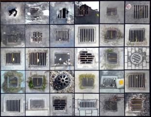 Collage av avloppsbrunnsbilder