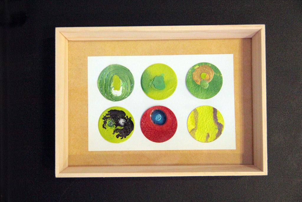 Ronds Verts sur papiers et Art Panel 20 x 15 cm
