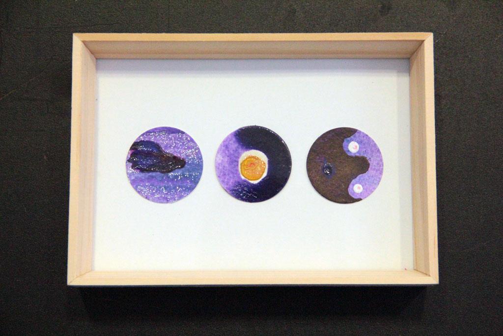 Ronds Violets sur papiers et Art Panel 20 x 15 cm
