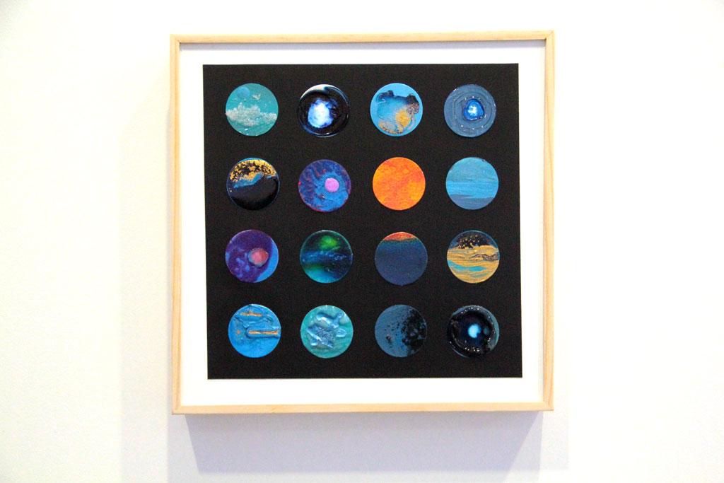 Ronds Bleus sur papiers et Art Panel 30 x 30 cm