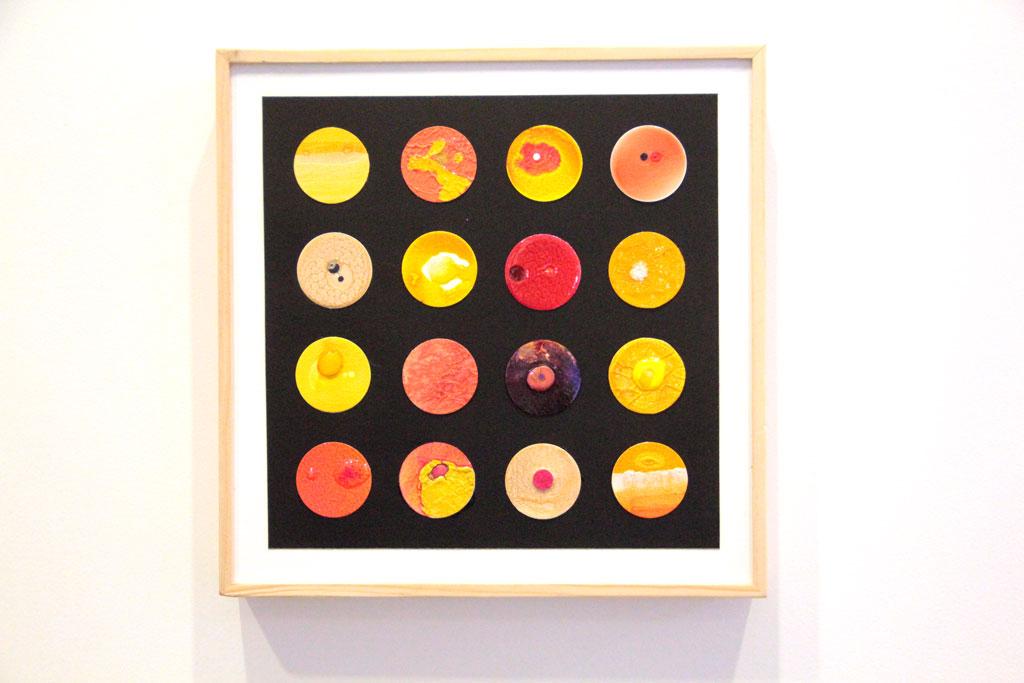 Ronds Jaunes sur papiers et Art Panel 30 x 30 cm