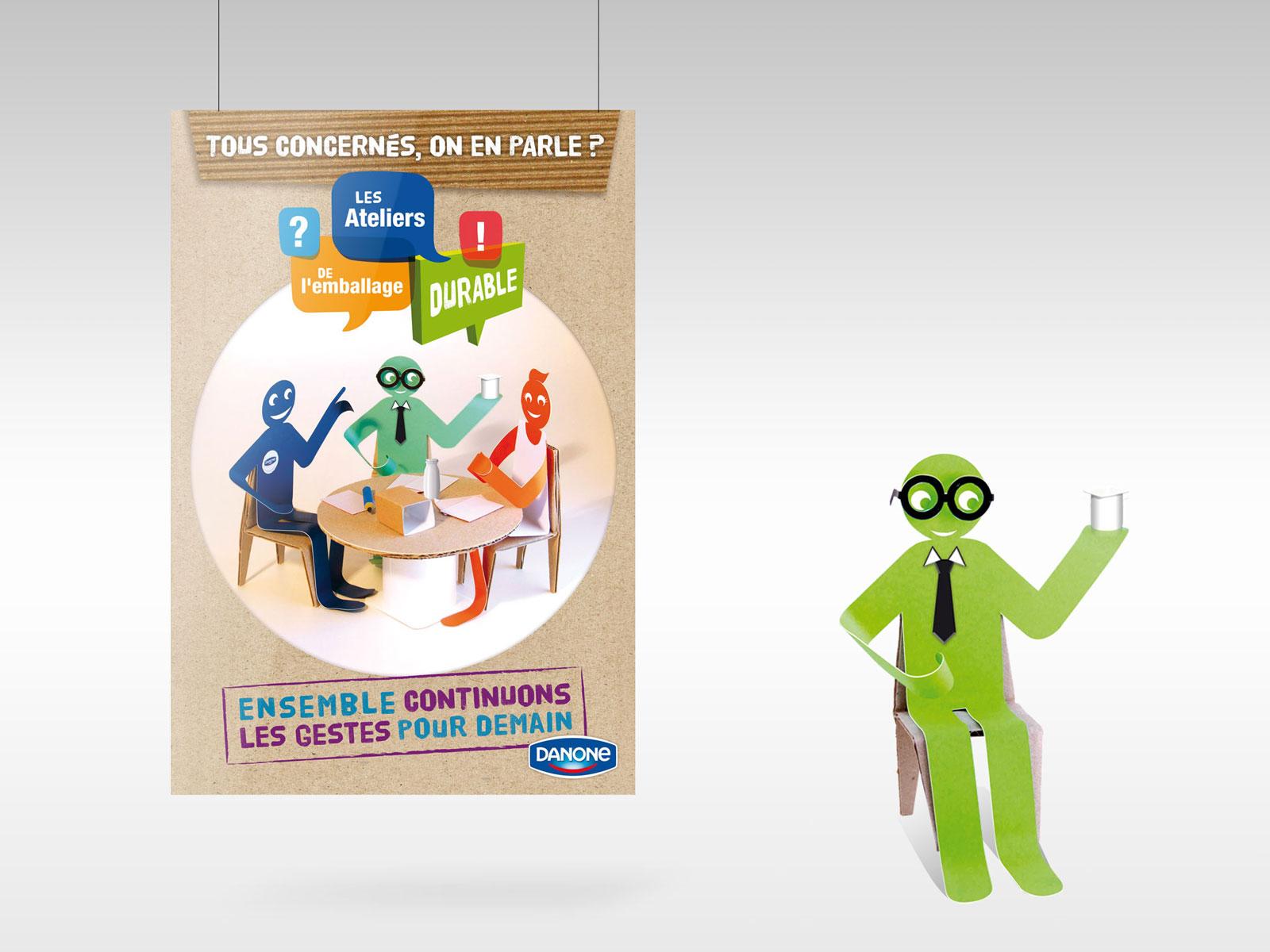 Création affiche Danone concept du personnage et prise de vue photo