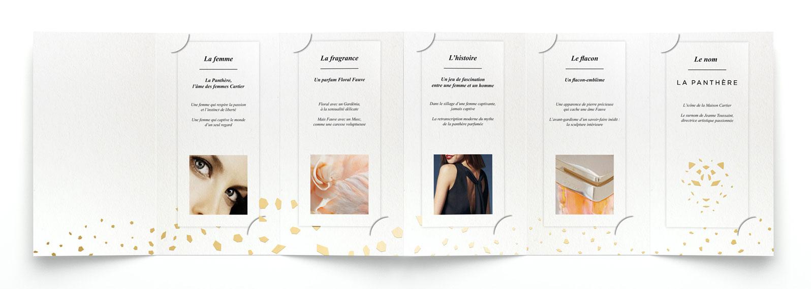 Dépliant recto à plat explicatif du parfum Cartier